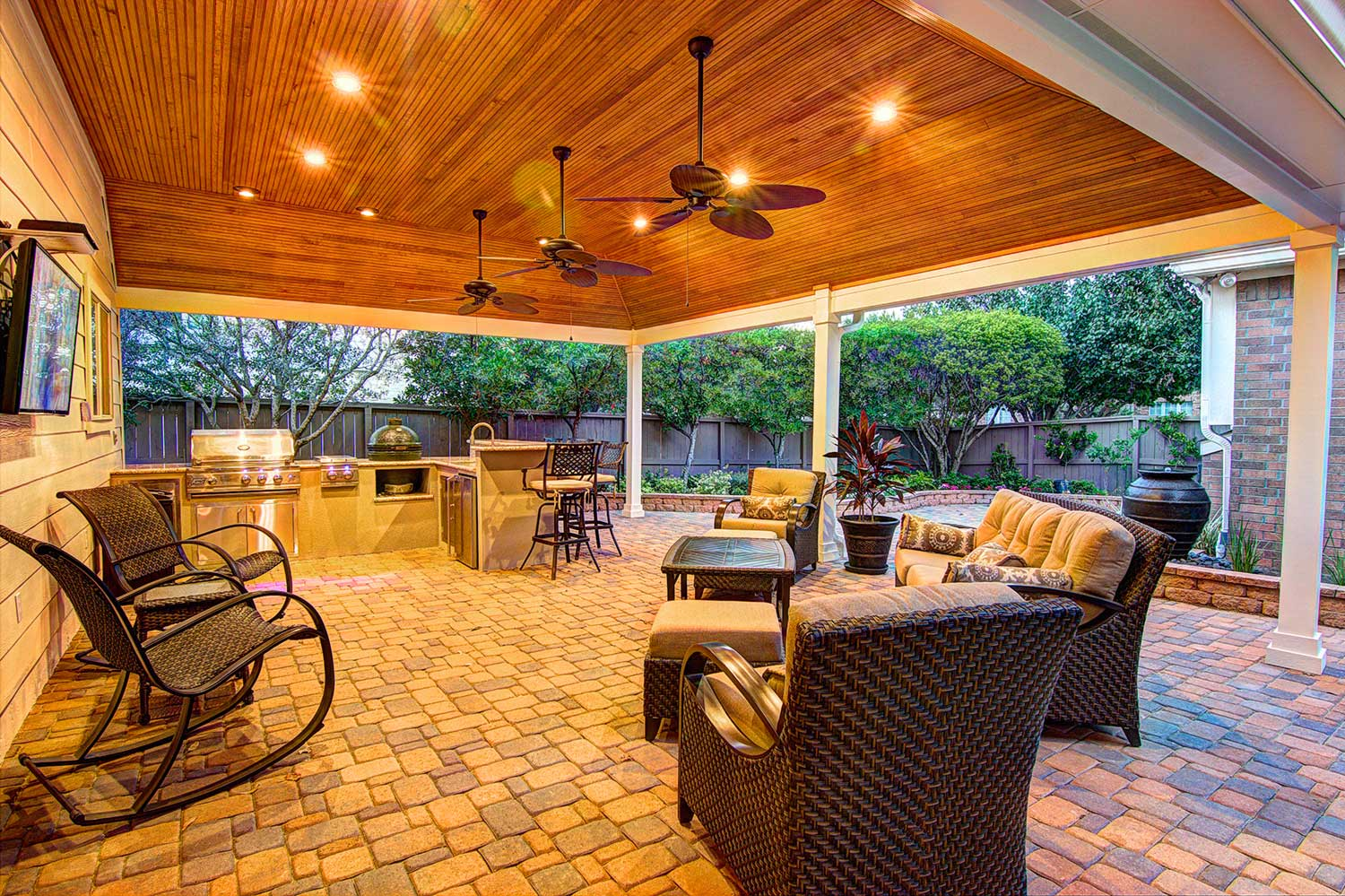 Tongue and Grove Patio Cover plus Outdoor Kitchen - HHI ... on Backyard Patio Cover  id=26550