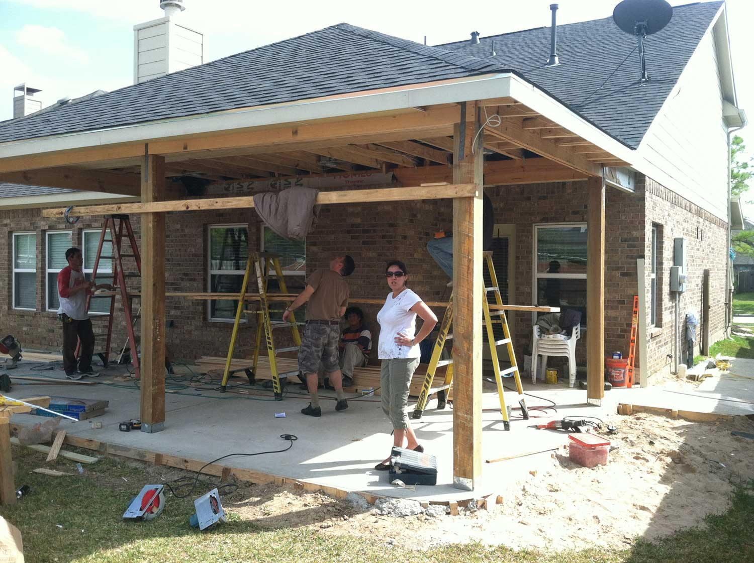 Patio cover in houston tx hhi patio covers for Enclosed porch plans free