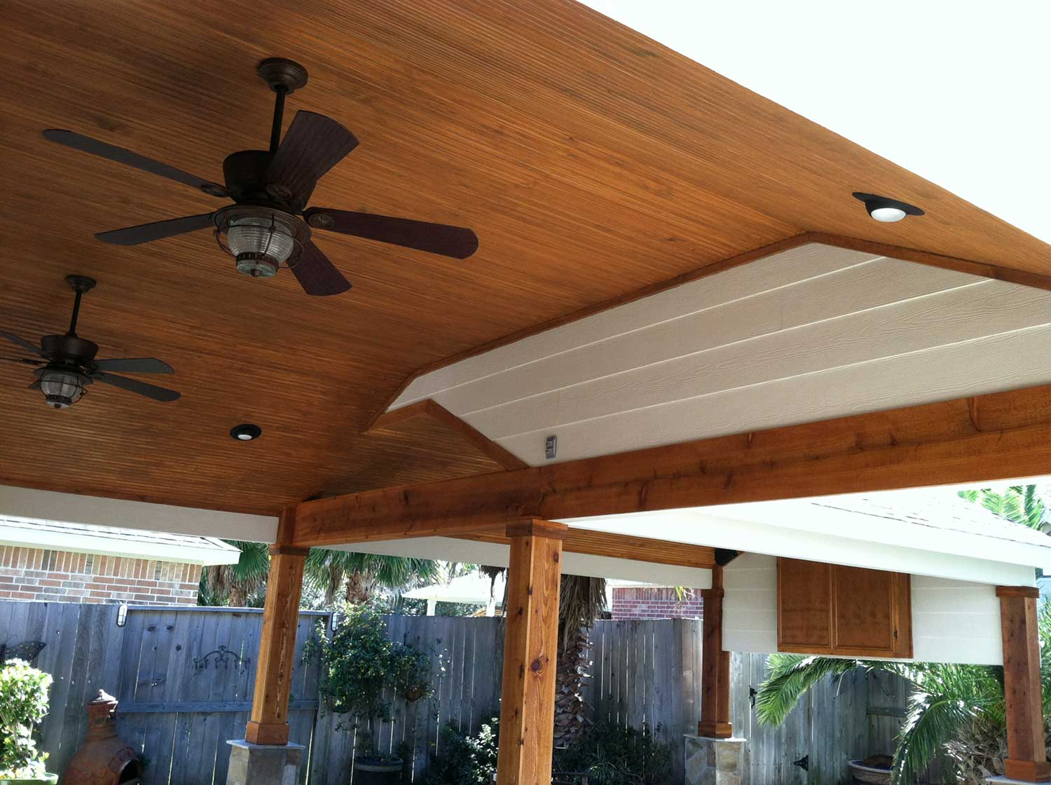 Patio Cover With Wood Columns And Outdoor Kitchen Hhi