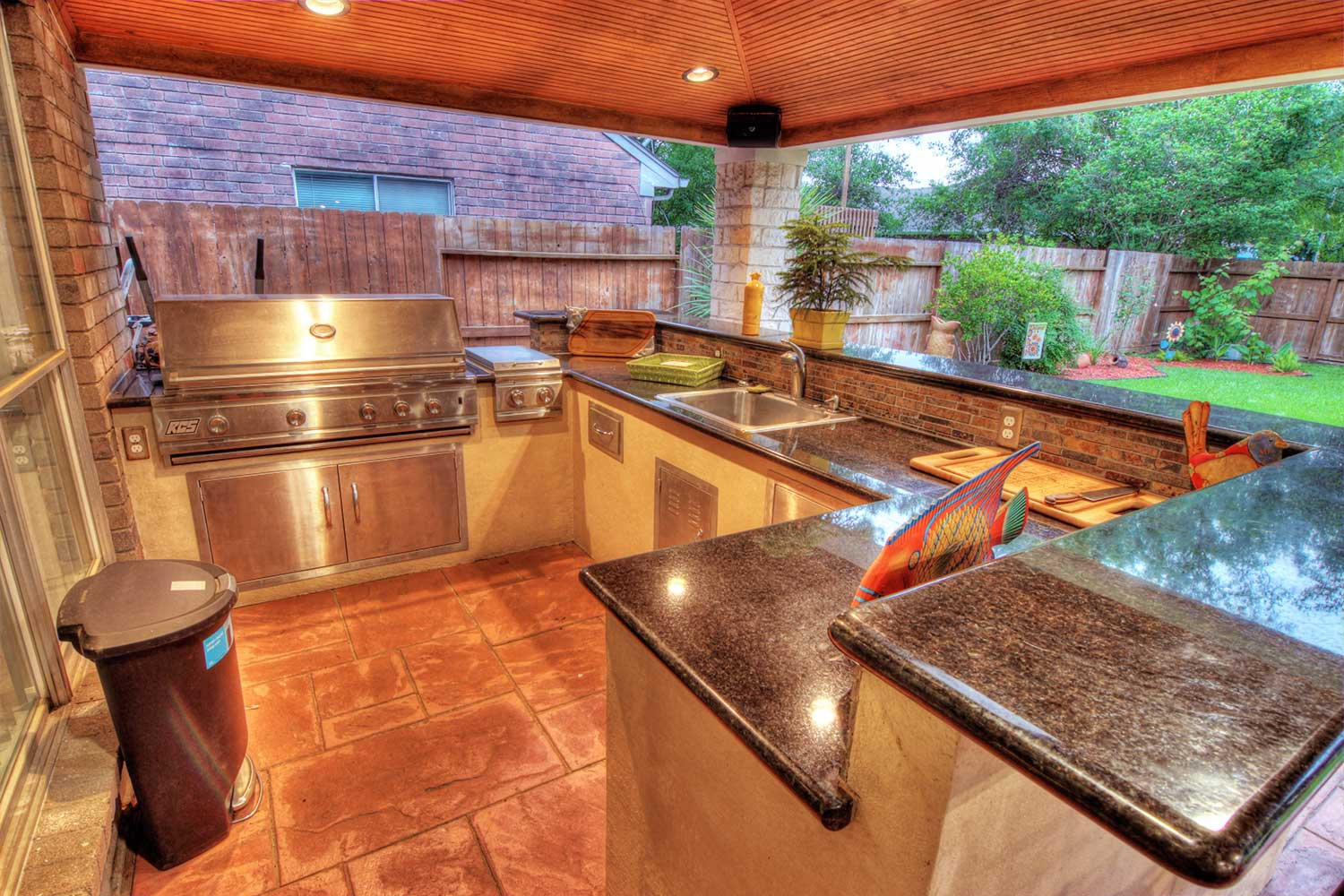 Patio Cover With Brick Columns And Outdoor Kitchen Houston