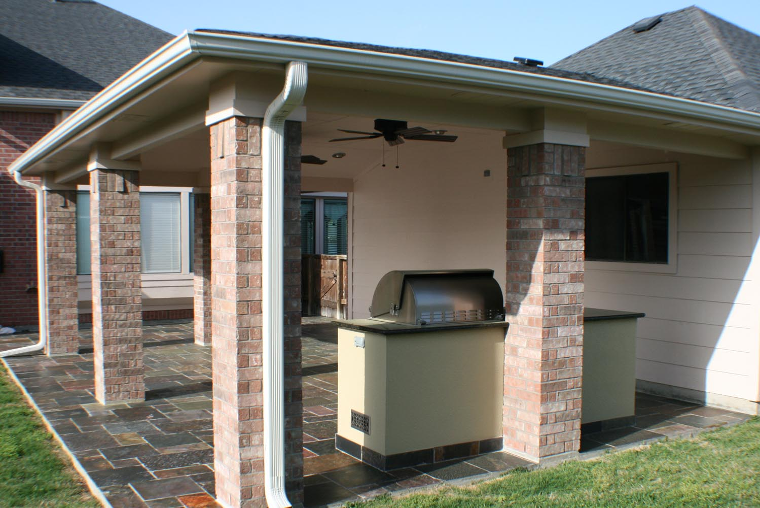 Natural Stone Floor Patio Cover and Outdoor Kitchen - HHI ... on Backyard Patio Cover  id=14682