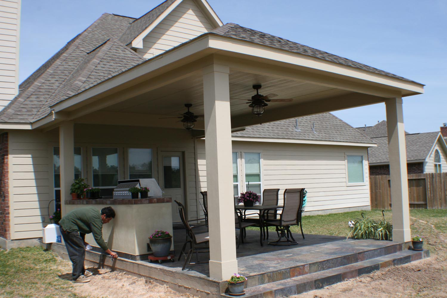 16 by 20 Patio Cover + Outdoor Kitchen - HHI Patio Covers on Backyard Patio Cover  id=66306