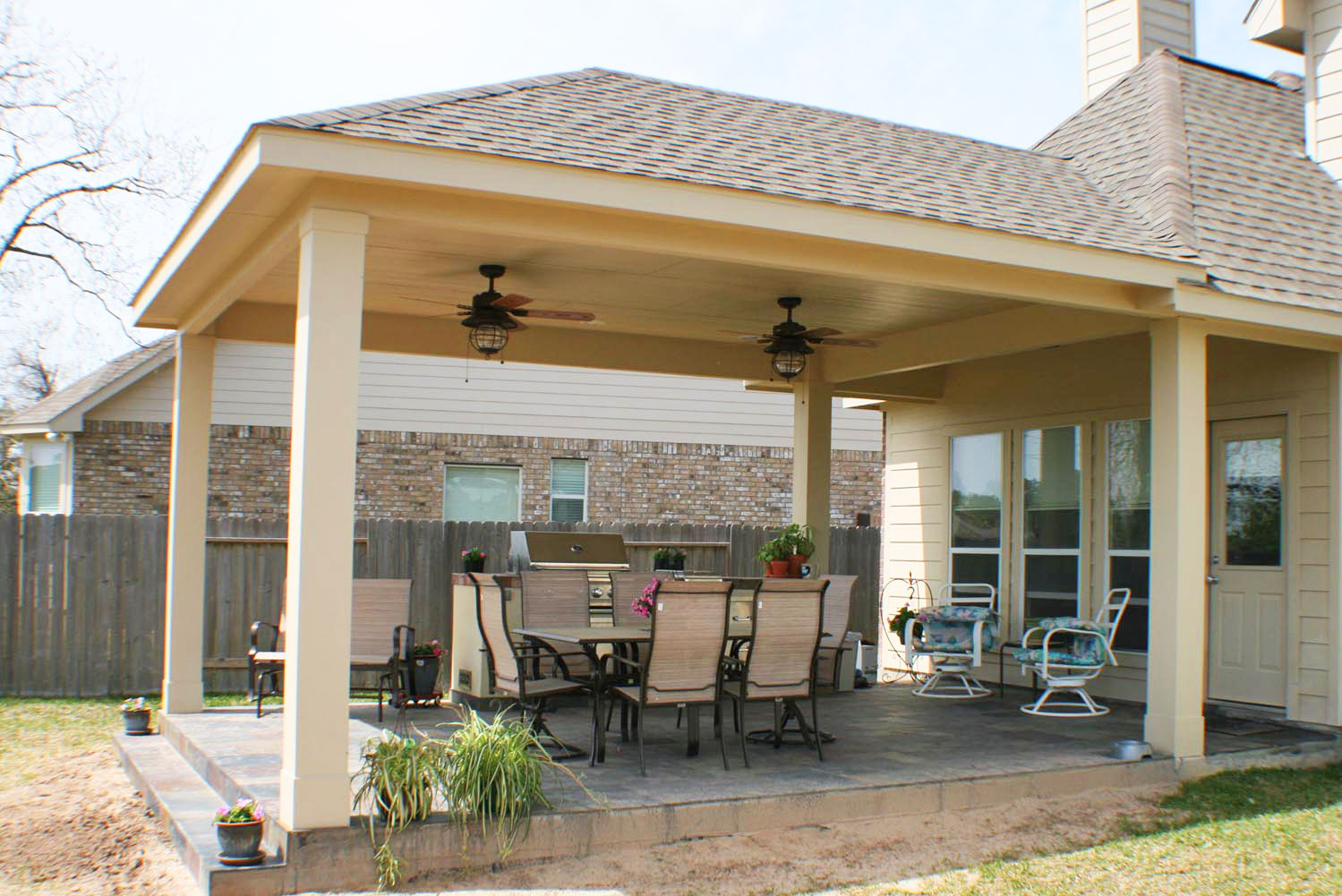 16 by 20 Patio Cover + Outdoor Kitchen - HHI Patio Covers on Backyard Patio Cover  id=11932
