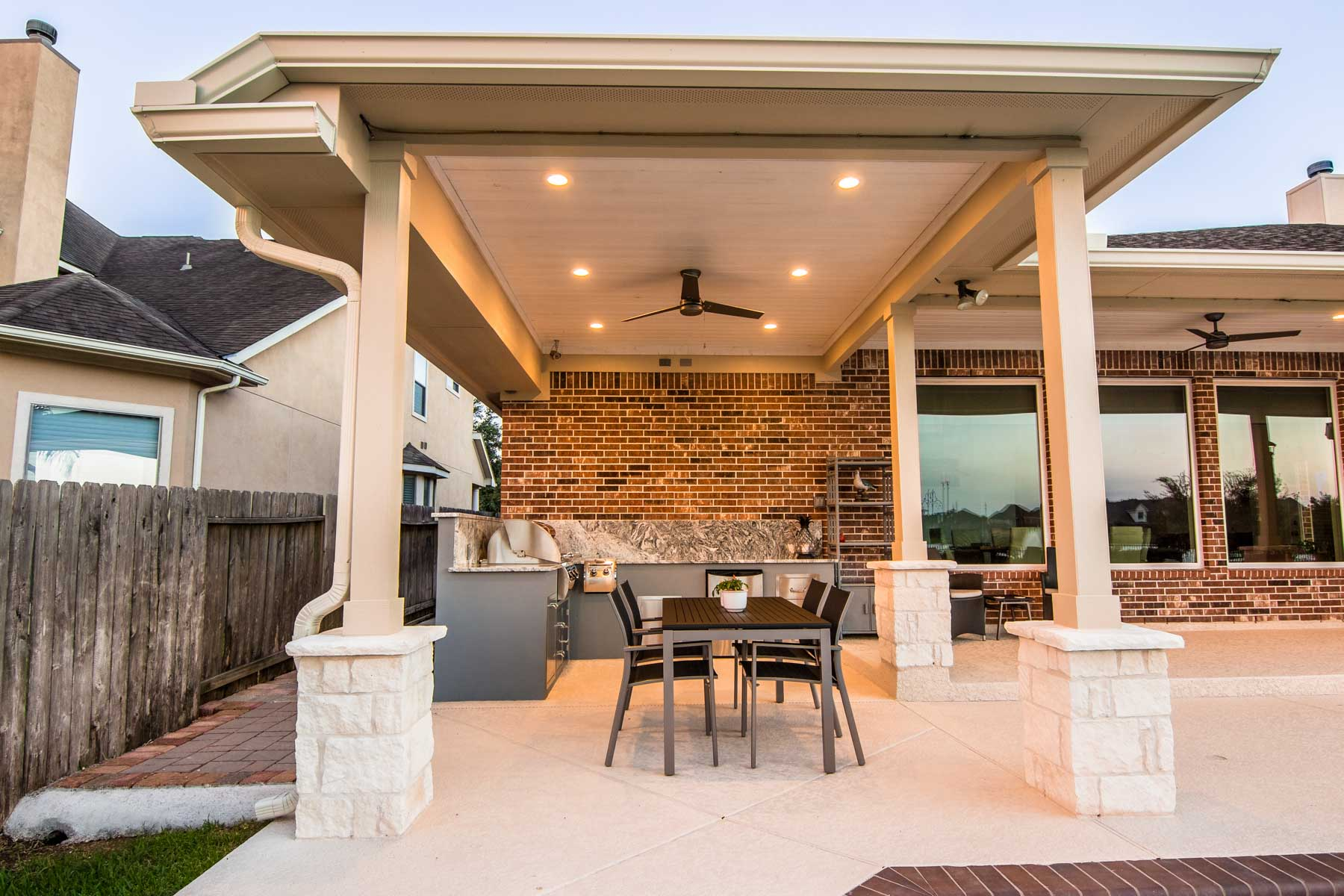 Patio Cover and Outdoor Kitchen Copper lakes HHI Patio Covers