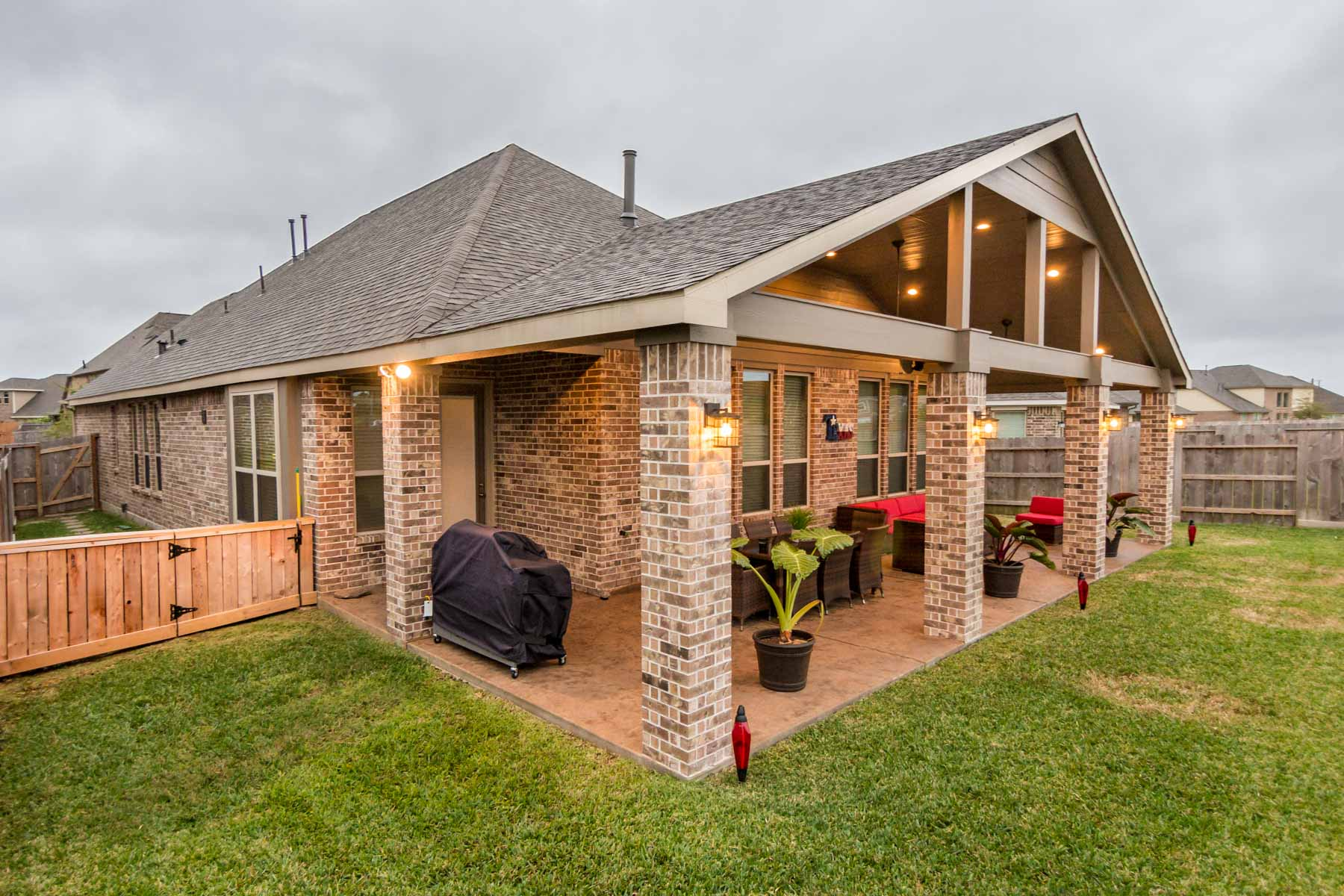 Gable Roof Patio Cover in Cypress Texas - HHI Patio Covers on Backyard Patio Covers  id=14029