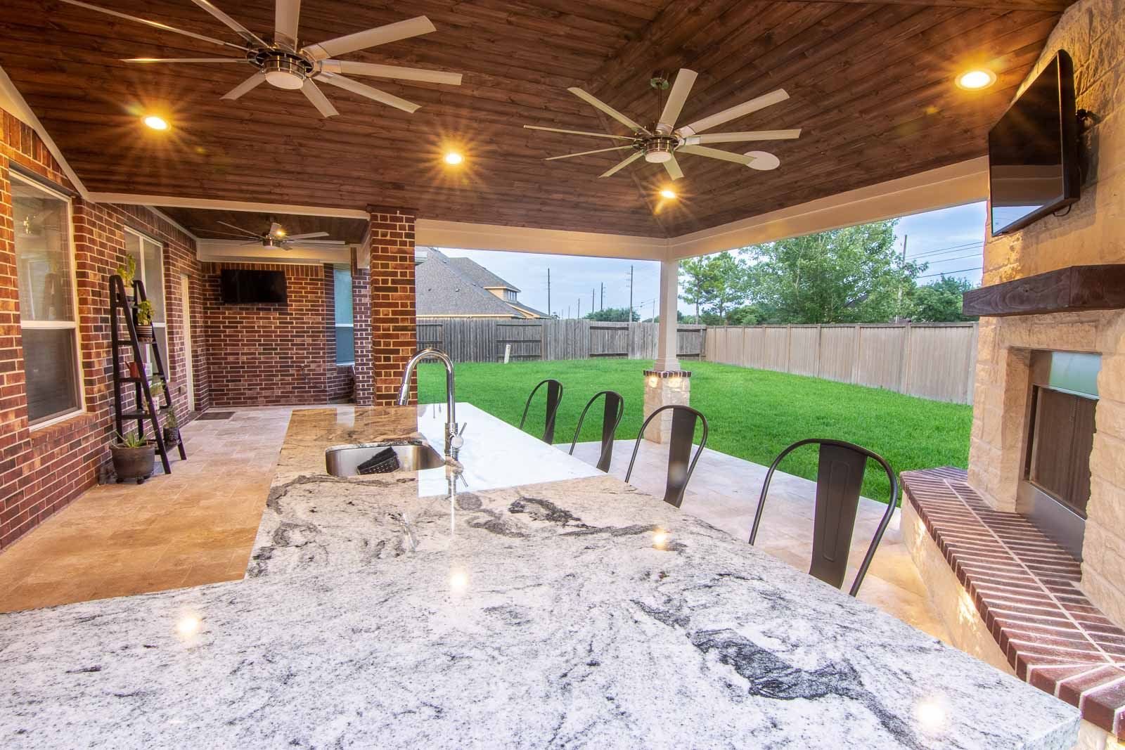 Patio Cover with Outdoor Kitchen and Fireplace - Richmond ... on Backyard Patio Covers  id=57561